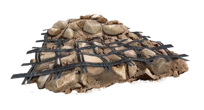 ژئوگرید دارای ساختار شبکهای با حفرههای باز و بزرگ میباشد که به آنها چشمه میگویند.